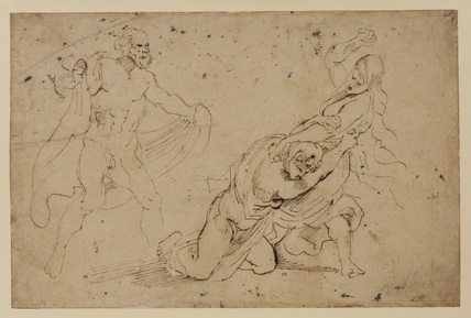 Juno's vengeance on Callisto (?) - study of a man and a woman attacking another woman