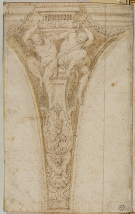 Design for the decoration of a spandrel (verso)