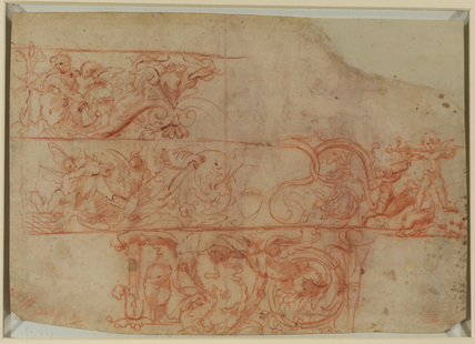 Three friezes of grotesque ornament (verso)