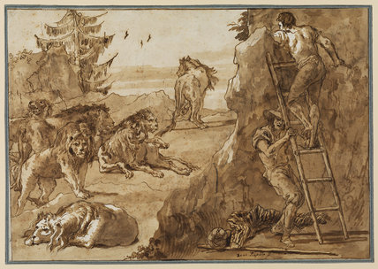 Landscape with lions and men with a ladder