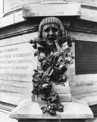 Monument to William Shakespeare, mask of Tragedy