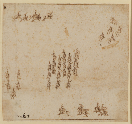 Cavalry pageant (?) - five small groups of horsemen in formation