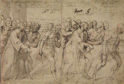 Two Studies for 'Saint Stephen Being Led to His Martyrdom' (recto)