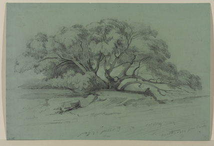 Landscape with trees, and an angler by a stream