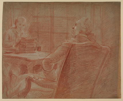 Man seated before an artist sketching