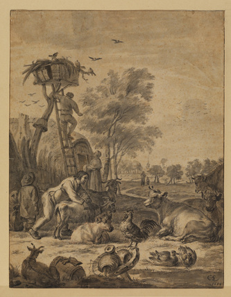 Landscape with cattle, poultry and figures