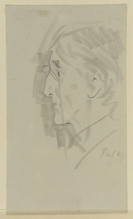Portrait sketch of a man wearing a pince-nez  (Sir Henry Irving ?)