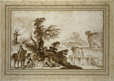 Landscape with a Horseman and a Bridge (framed)