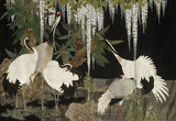 Embroidered silk hanging of cranes, wisteria and cycads