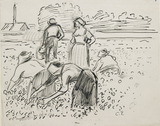 Study of five Peasant Figures working in a Field