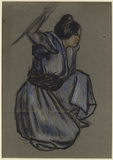 Study of a girl crouching for 'Le Lotus Rouge'