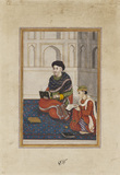 Portrait of a man reading (mullah?) with a scribe