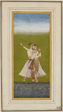 Standing lovers embracing by a lotus pool