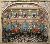 Rajput noblemen and attendants in an ornate interior