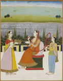 A lady seated smoking on a terrace, with two attendants