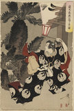 Samurai in dramatic pose, holding a lantern, by palm trees