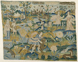 "Embroidered picture: ""Man with a Lion in a Landscape with two Couples"", 2nd half of the 17th century undefined: 32 x 41 cm"