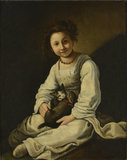 Girl with a Dog and a Kitten