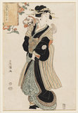 Woman with a Peking dog on her shoulder