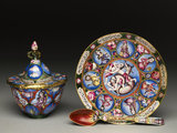 Lidded bowl, saucer and spoon with astrological decoration