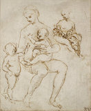 Recto: Two Studies for a Virgin and Child with St John