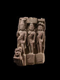 Fragment of a donor group possibly depicting Vasudeva, Subhadra, and Balarama