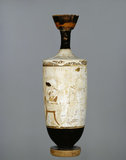 Attic white-ground lekythos with image of women musicians