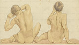 Two seated nude boys seen from behind
