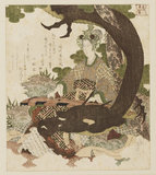 Benten playing the koto under a pine tree, encircled by a dragon