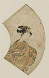 Onoe Kikugorō in a female role, looking to her left
