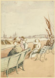 People seated on a Promenade