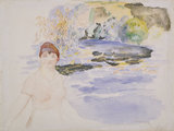 A woman seated by a lake