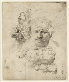 Sheets of studies with the Head of the Artist, a beggar Man, Woman and Child