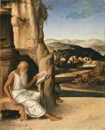 St Jerome reading in a Landscape