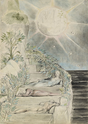 Dante and Statius sleeping; Virgil watching