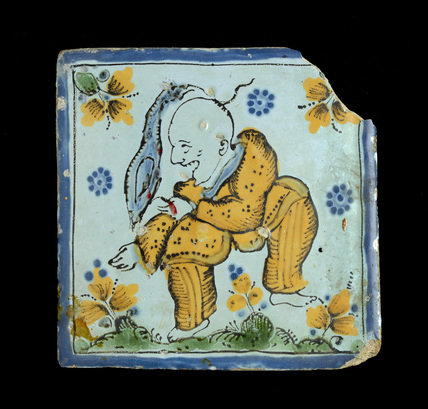 Tile with a grotesque Chinaman