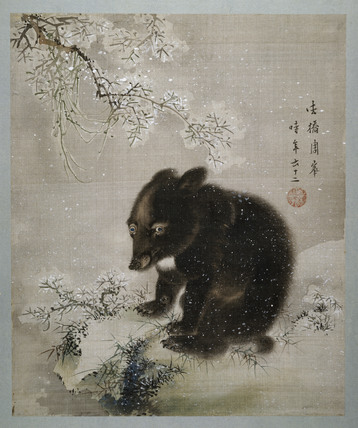 Black Bear Cub In Snow By Shūhō Mori 1738 1813 At
