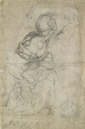 Verso: Studies for two kneeling Women
