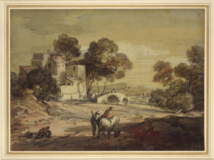 Italianate Landscape with Travellers on a winding Road