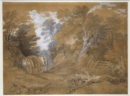 Wooded Landscape with a peasant Boy asleep in a Cart