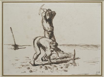 Two Peasants digging with Pickaxes