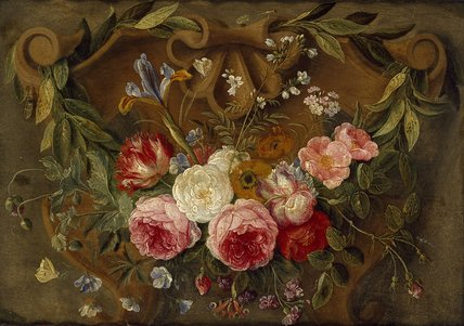 Decorative Still-Life Composition with a Garland of Flowers