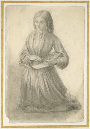 Elizabeth Siddal playing a Stringed Instrument