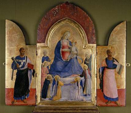 The Virgin and Child with Angels and a Dominican Saint; St Peter (left); St Paul (right)