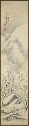 Hanging scroll with snowy mountain landscape