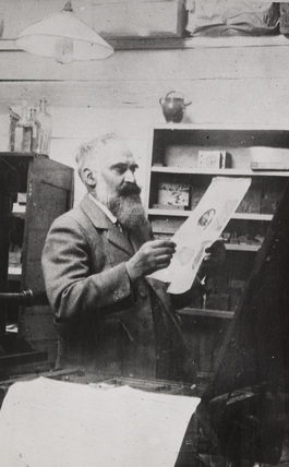 Lucien Pissarro in his Studio