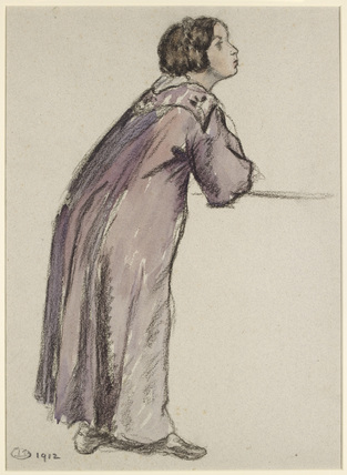 Figure Study for the girl on the left of 'Dans le palais'