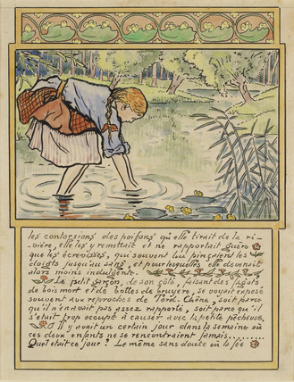 The girl fishes for eels from 'La Reine des Poissons'