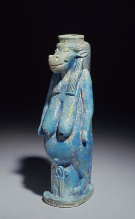Moulded faience vase in the form of the goddess Taweret