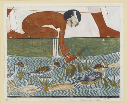 Copy of wall painting from private tomb 69 of Menna, Thebes (I,1, 134-139) fragment of large fishing scene